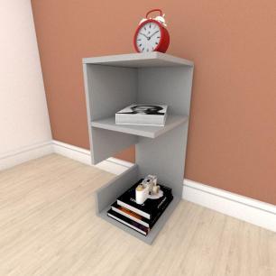 kit com 2 Mesa de cabeceira formato slim em mdf Cinza