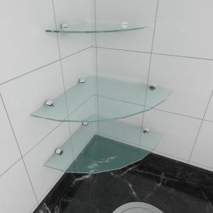 kit com 3 Prateleira para canto de vidro temperado para cozinha 2 de 30 cm e 1 de 20 cm