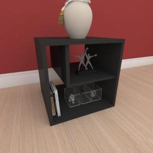 Mesa de cabeceira moderna com nichos em mdf preto