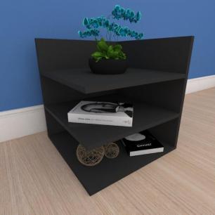 Mesa de cabeceira minimalista com prateleiras em mdf preto