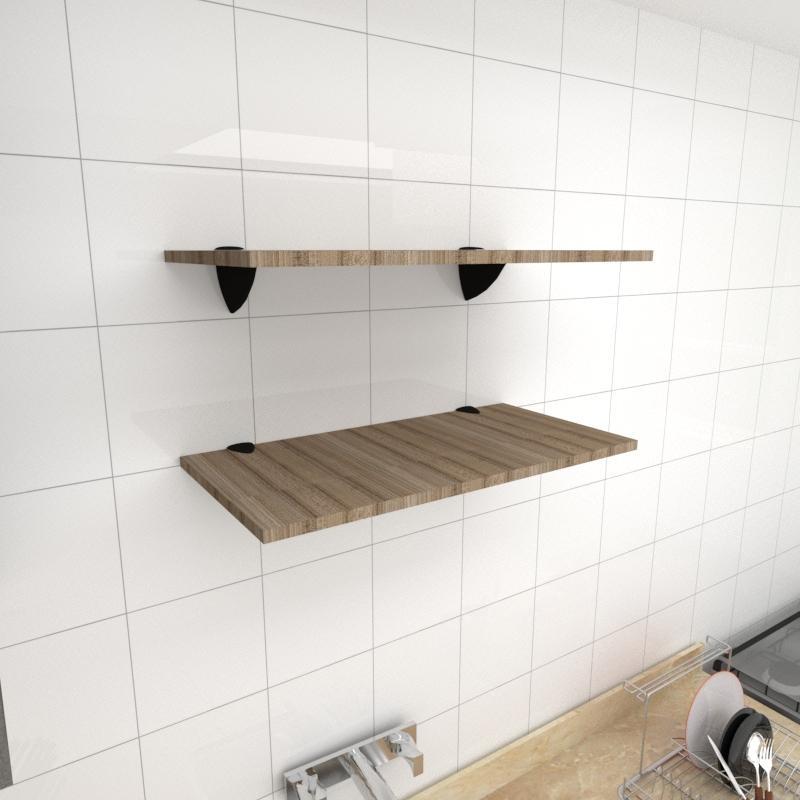 Kit 2 prateleiras para cozinha em MDF suporte tucano amadeirado escuro 60x30cm modelo pratcame05