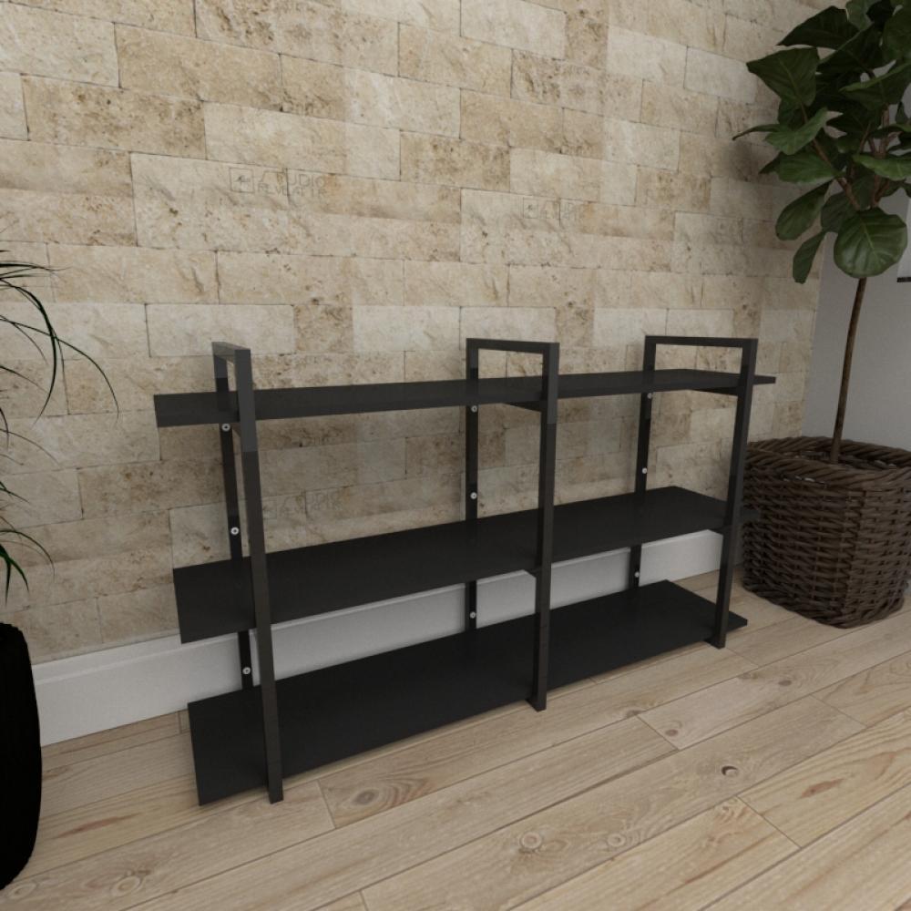 Mini estante industrial para sala aço cor preto prateleiras 30 cm cor preto modelo ind12peps