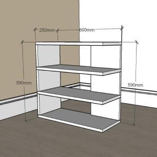 Estante escritório slim com 3 niveis em mdf Preto