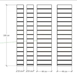 Kit 4 Painel canaletado pilar amadeirado escuro 2 peças 44(L)x180(A) cm + 2 peças 20(L)x180(A) cm