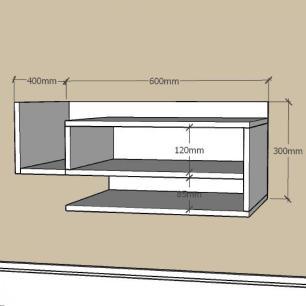Mesa de Cabeceira simples com nichos em mdf Cinza