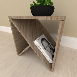 Mesa lateral sofá design, mesa de canto, em mdf Amadeirado escuro