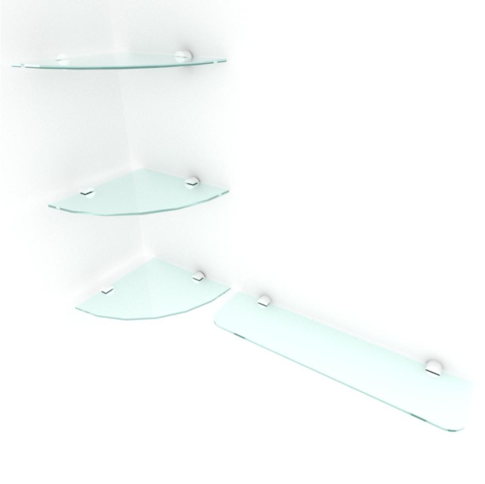 kit com 4 Prateleira de vidro temperado para sala 3 de 20 cm para canto e 1 de 40 cm reta