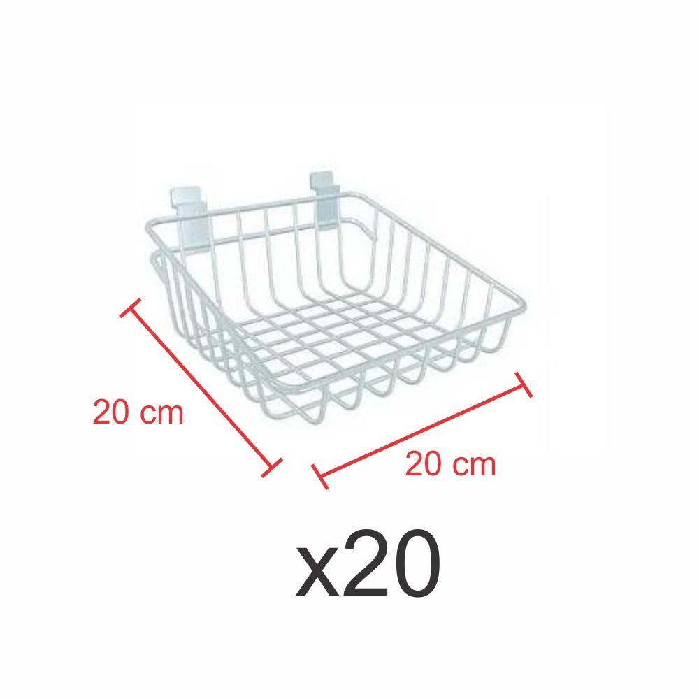 Kit com 20 Cestos para painel canaletado 20x20 cm branco