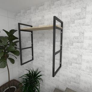 Prateleira industrial para Sala aço preto prateleiras 30 cm cor amadeirado claro modelo ind15acsl