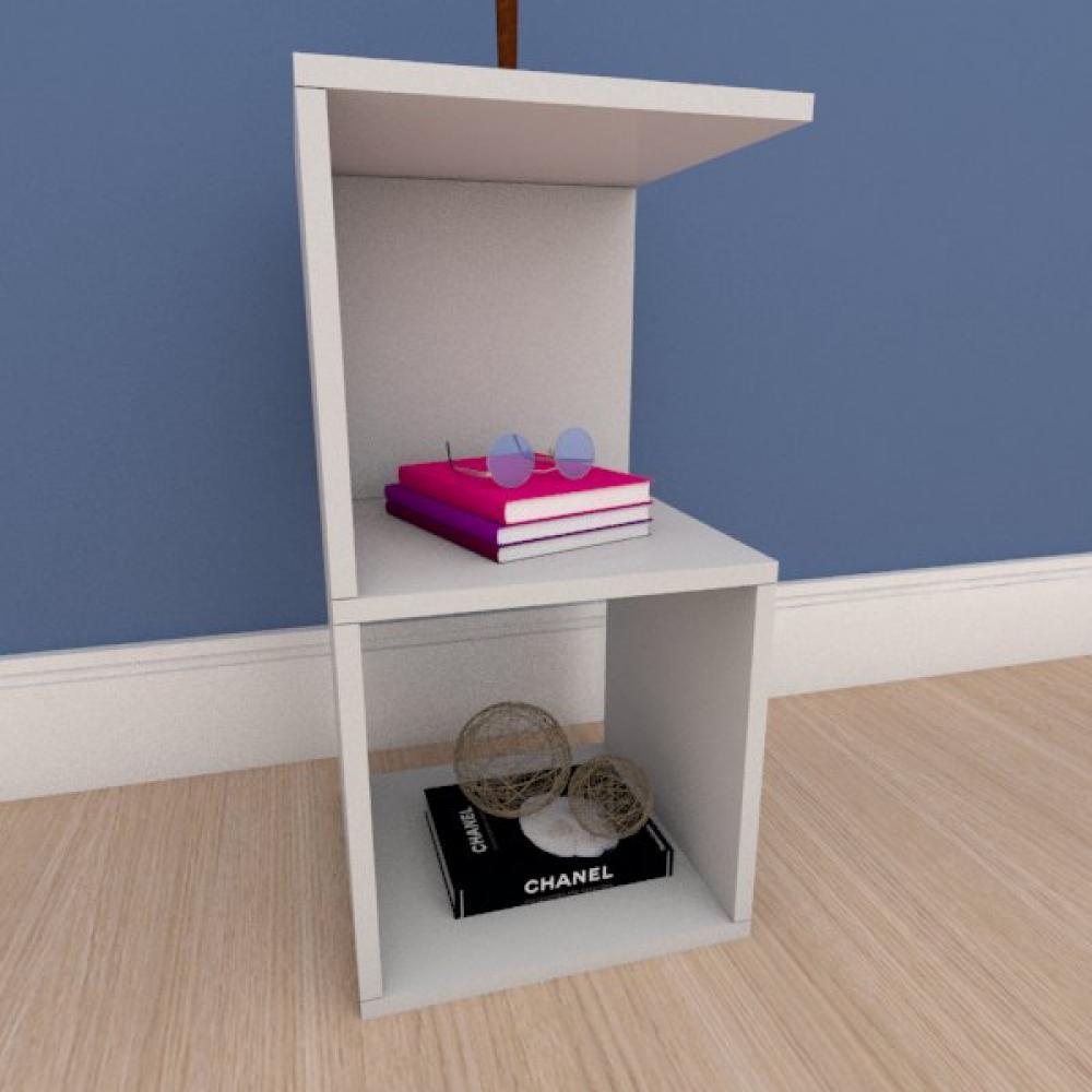 Mesa de cabeceira simples nicho em mdf cinza