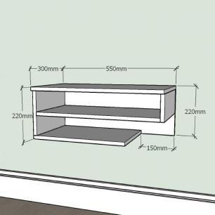 Mesa de Cabeceira slim com nichos prateleiras em mdf Cinza