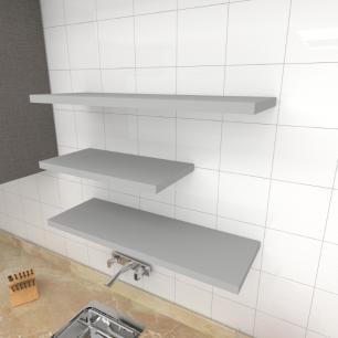 Kit 3 prateleiras cozinha em MDF sup. Inivisivel cinza 1 60x30cm 2 90x30cm modelo pratcc31