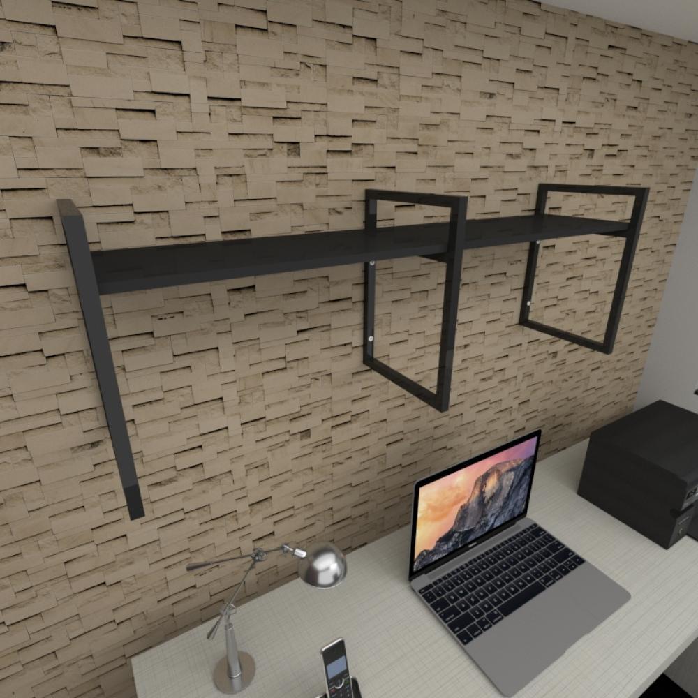 Prateleira industrial para escritório aço cor preto prateleiras 30cm cor preto modelo ind06pes