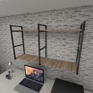 Prateleira industrial para escritório aço cor preto mdf 30cm cor amadeirado escuro modelo ind13aees