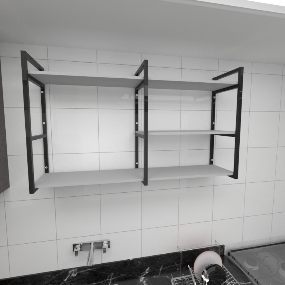 Prateleira industrial para cozinha aço cor preto prateleiras 30cm cor cinza modelo ind14cc