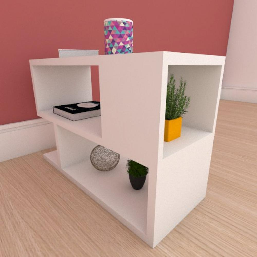 Mesa Lateral minimalista com nicho em mdf branco