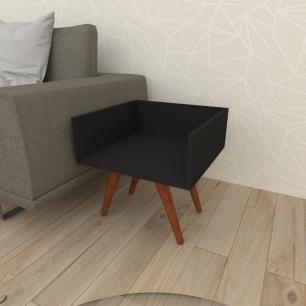 Mesa lateral minimalista em mdf preto com 4 pés inclinados em madeira maciça cor mogno