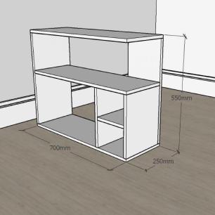 Mesa de Cabeceira formato simples em mdf Cinza