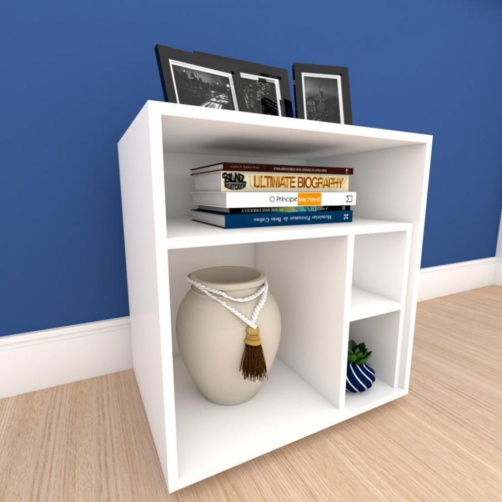 Mesa de Cabeceira formato S minimalista em mdf Branco