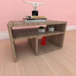 Mesa de centro moderna compacta com prateleiras em mdf amadeirado