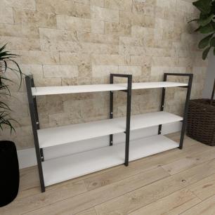Mini estante industrial para escritório aço cor preto prateleiras 30 cm cor branca modelo ind11bep
