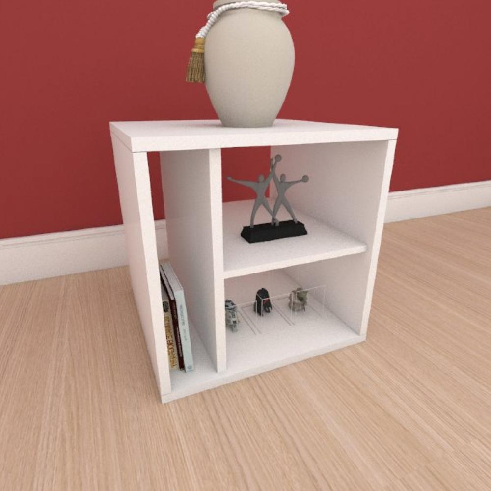 Mesa de cabeceira slim com nichos em mdf branco