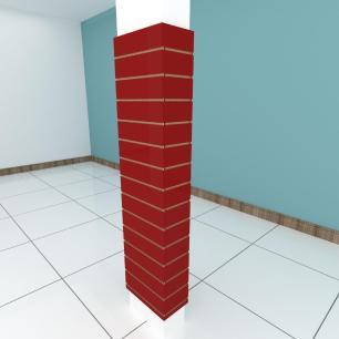 Kit 4 Painel canaletado para pilar vermelho escuro 2 peças 44(L)x180(A)cm + 2 peças 20(L)x180(A)cm