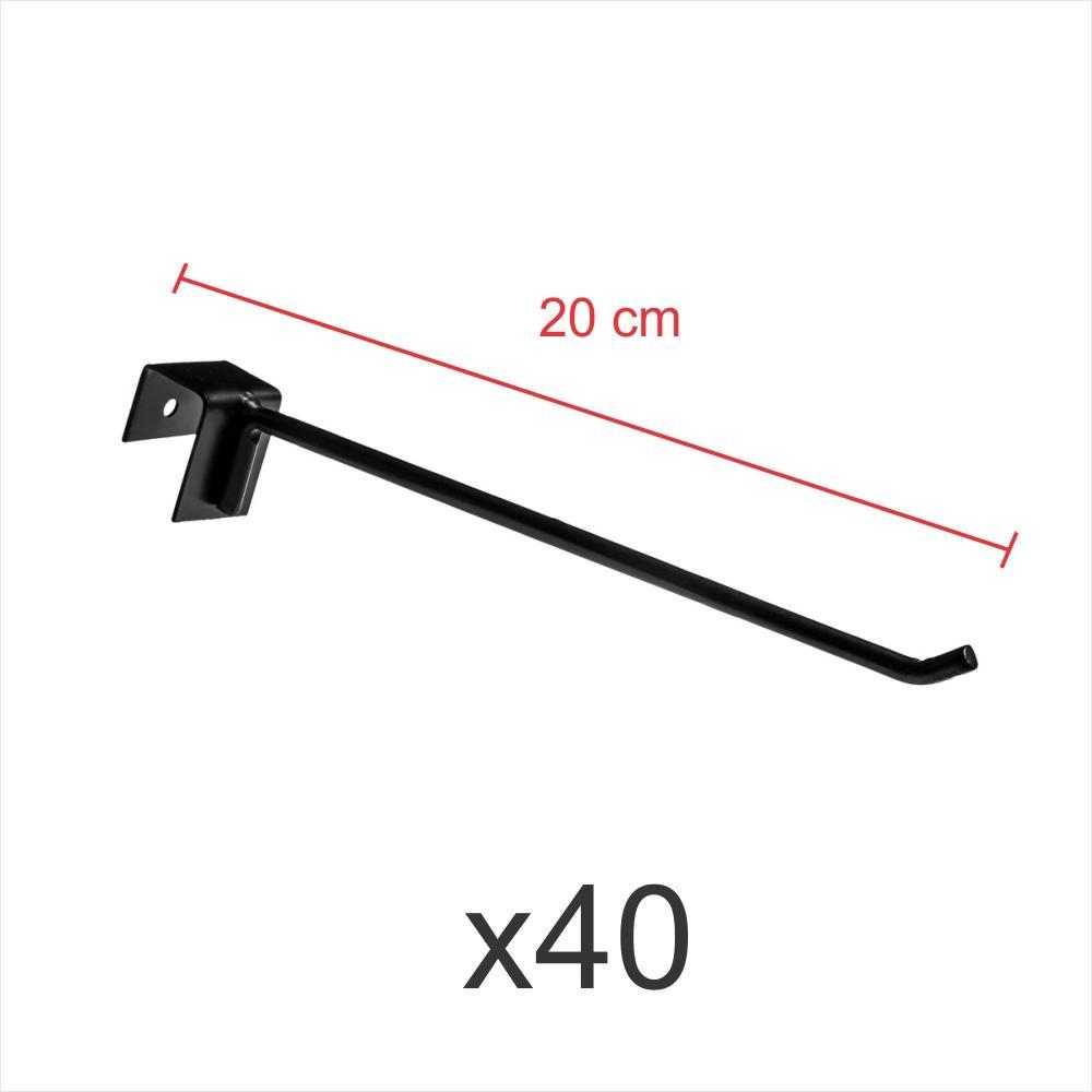Kit com 40 ganchos 4mm preto de 20 cm para gondola, para porta gancheira 20x20 e 20x40