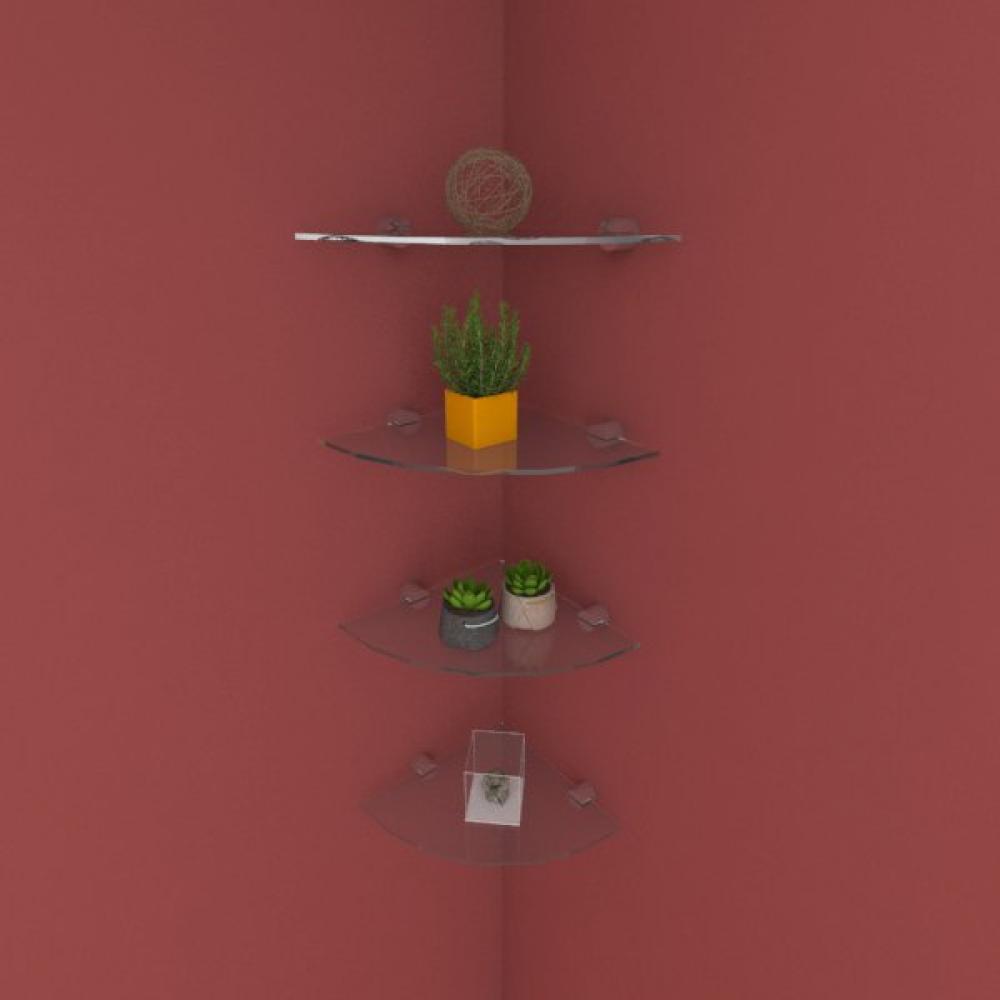 Kit com quatro Prateleira para escritório de canto 20 cm vidro temperado