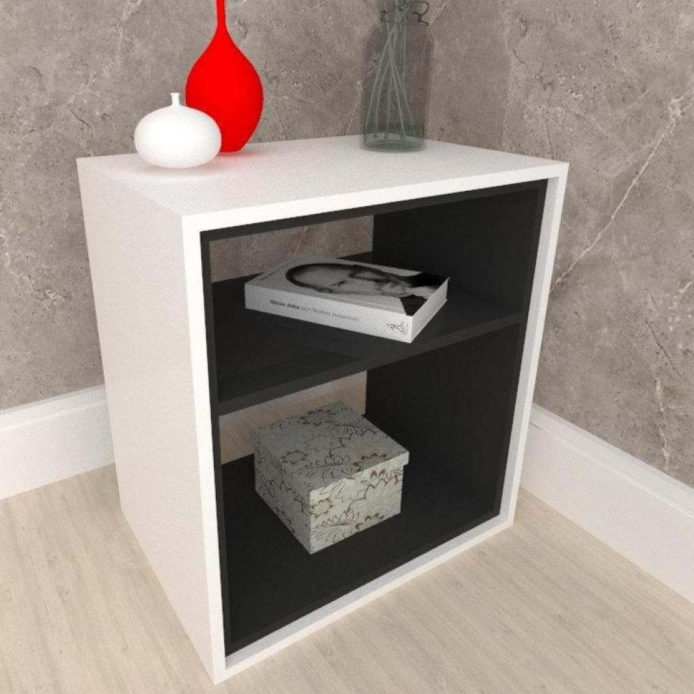 Criado mudo, mesa de cabeceira, em mdf cor branco com preto