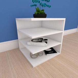Mesa de cabeceira simples com prateleiras em mdf branco