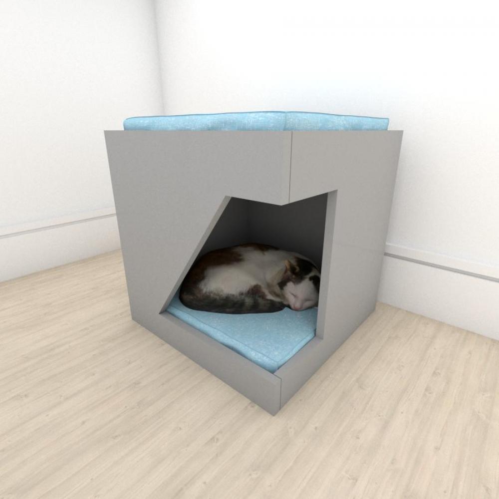 Mesa de cabeceira caminha bercinho para Gato em mdf Cinza