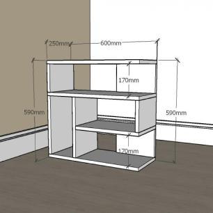 Mesa Lateral para sofá moderna com nicho em mdf Cinza