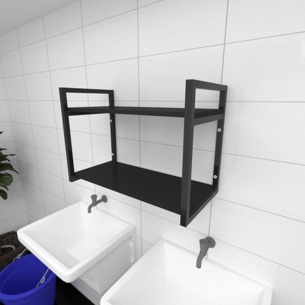 Prateleira industrial para lavanderia aço cor preto prateleiras 30cm cor preto modelo ind01plav