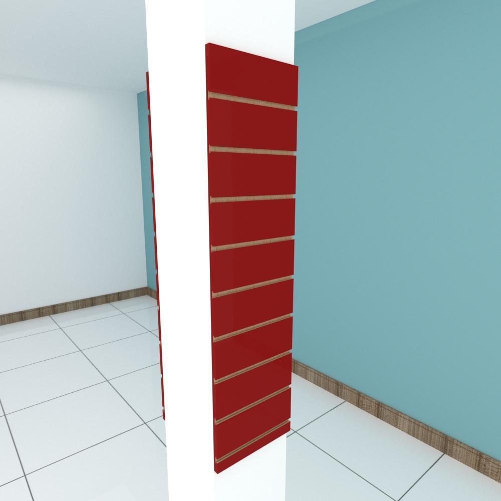 Kit 2 Painel canaletado para pilar vermelho escuro 2 peças 30(L)x120(A)cm