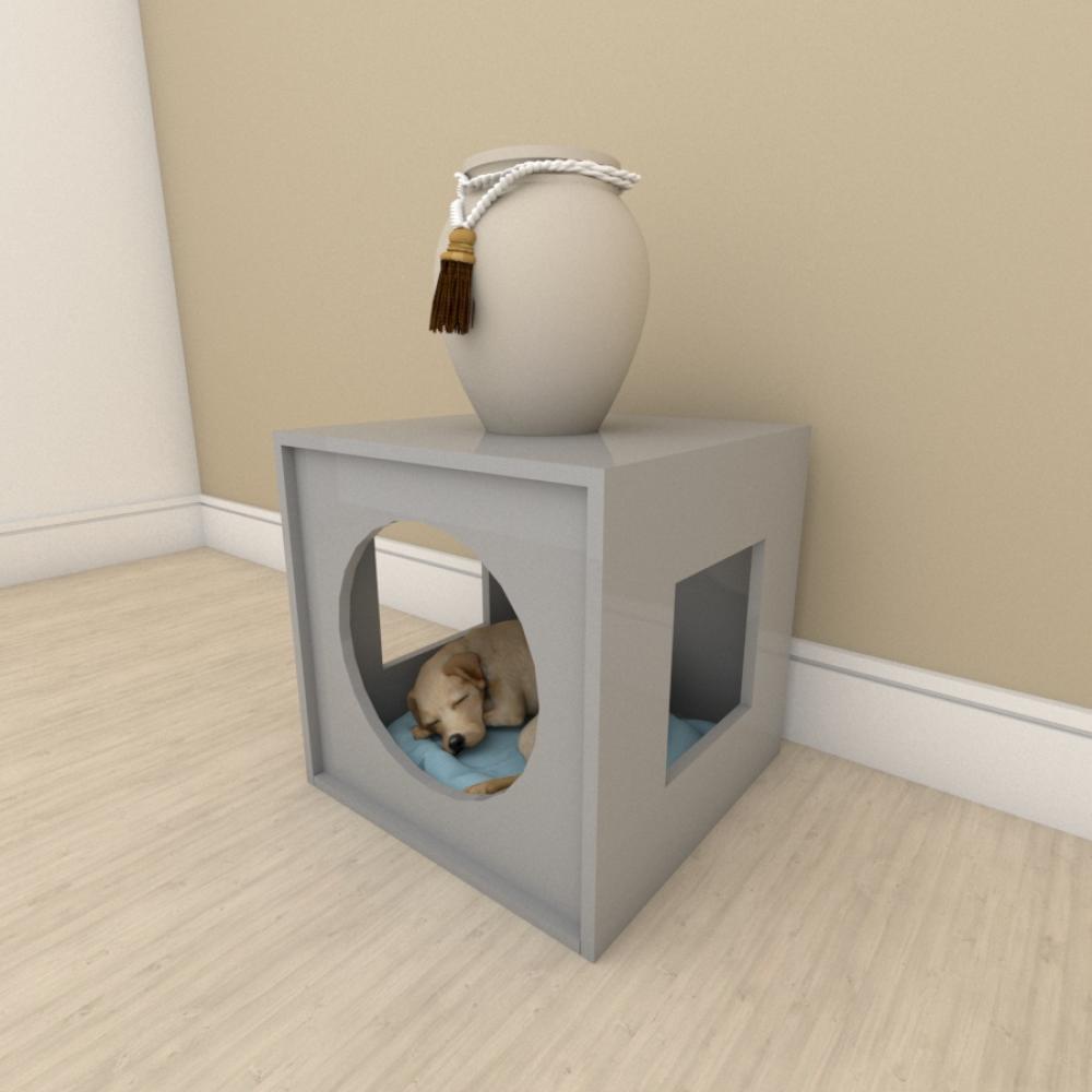 Mesa de cabeceira camapet para cachorro em mdf Cinza