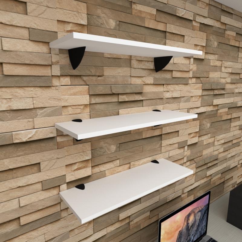 Kit 3 prateleiras para escritório em MDF suporte tucano branco 60x20cm modelo pratesb12