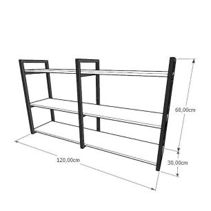 Mini estante industrial para sala aço cor preto mdf 30 cm cor amadeirado escuro modelo ind11aeeps