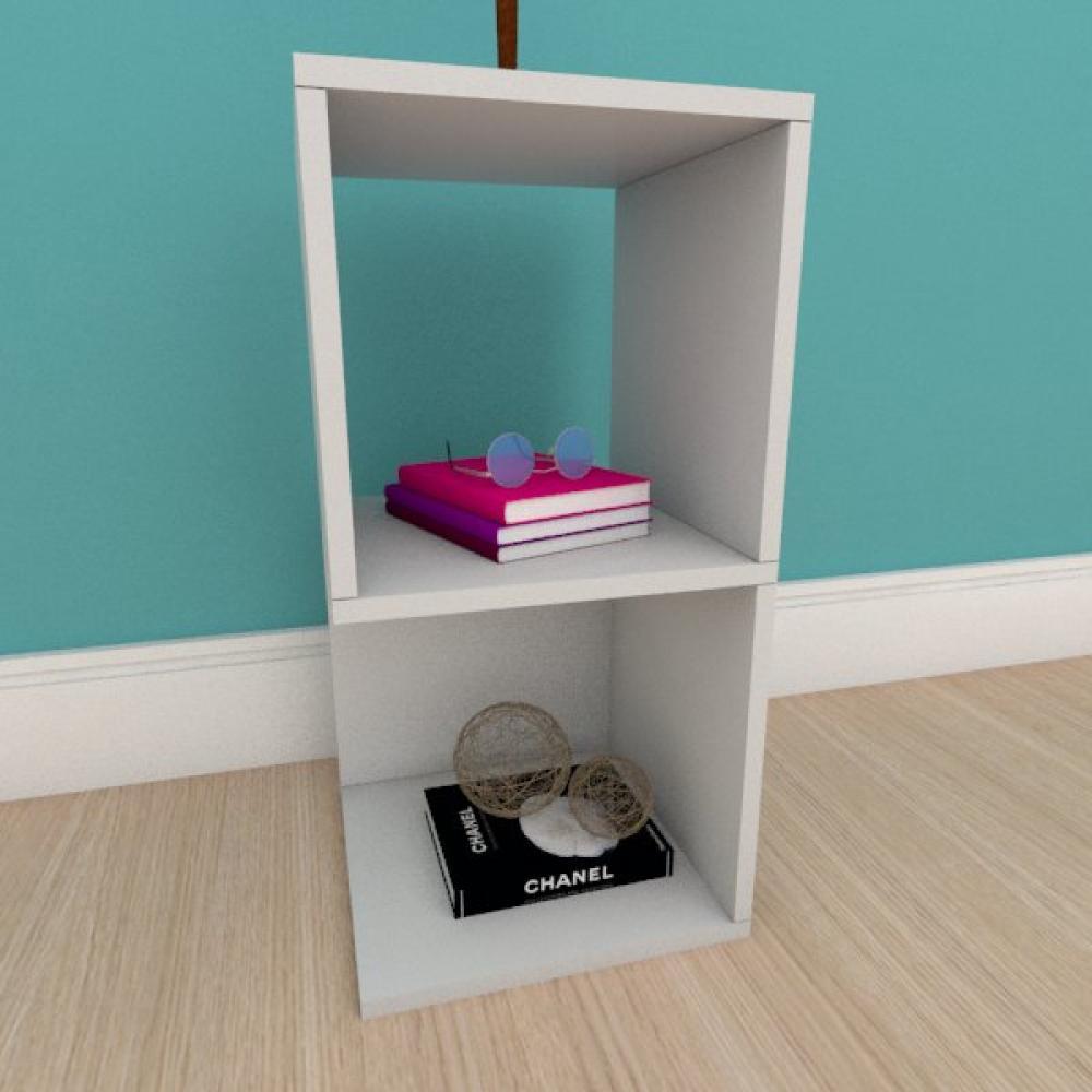 Kit com 2 Mesa de cabeceira simples nicho em mdf cinza