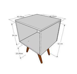 Mesa lateral moderna em mdf cinza com 4 pés inclinados em madeira maciça cor mogno