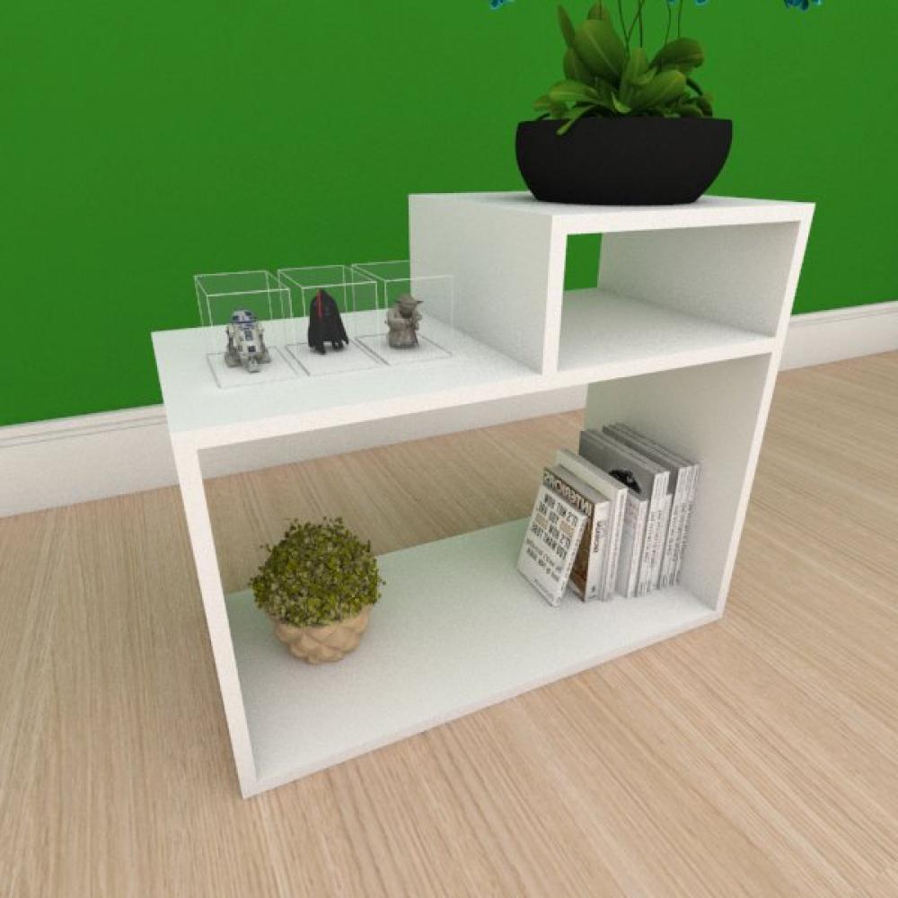 Mesa Lateral simples com nicho em mdf branco