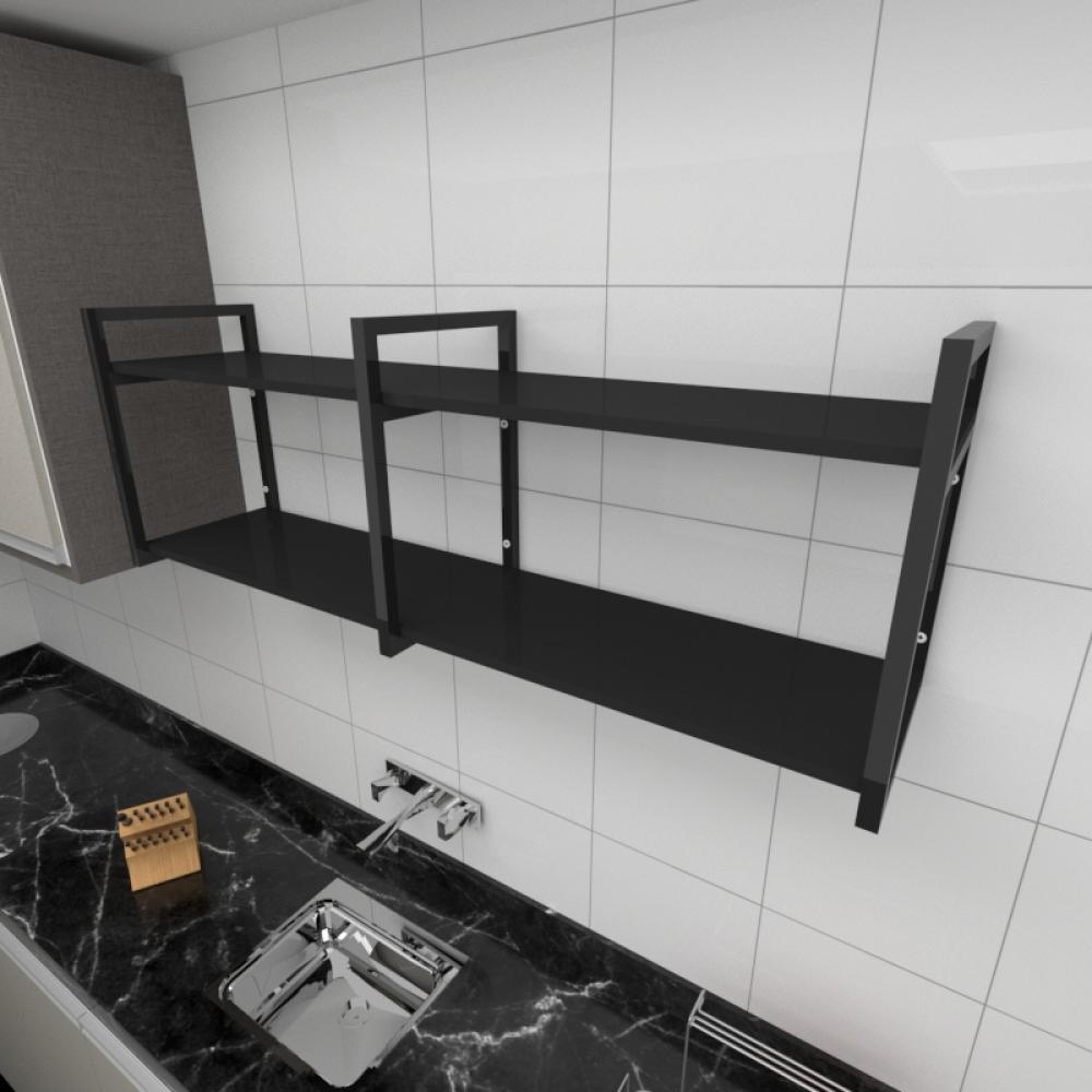 Prateleira industrial para cozinha aço cor preto prateleiras 30 cm cor preto modelo ind04pc