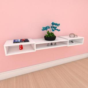 Rack minimalista moderno com nichos em mdf branco