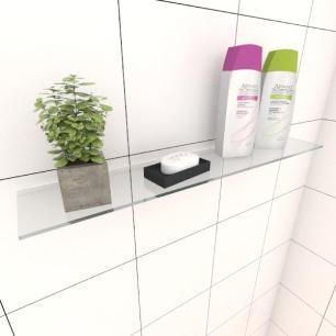 Kit com uma Prateleira para banheiro 50 cm vidro temperado