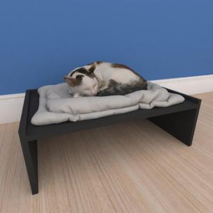 Mesa de cabeceira caminha bercinho pequeno gato em mdf cinza
