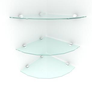 kit com 3 Prateleira para canto de vidro temperado para escritorio profundidade 30 cm