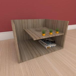 Mesa de centro com prateleiras em mdf amadeirado