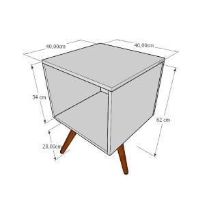 Mesa lateral moderna em mdf amadeirado claro com 3 pés inclinados em madeira maciça cor mogno