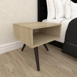 Mesa de Cabeceira em mdf amadeirado claro com 3 pés inclinados em madeira maciça cor tabaco