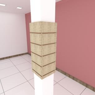 Kit 4 Painel canaletado para pilar amadeirado claro 2 peças 24(L)x60(A)cm + 2 peças 20(L)x60(A)cm